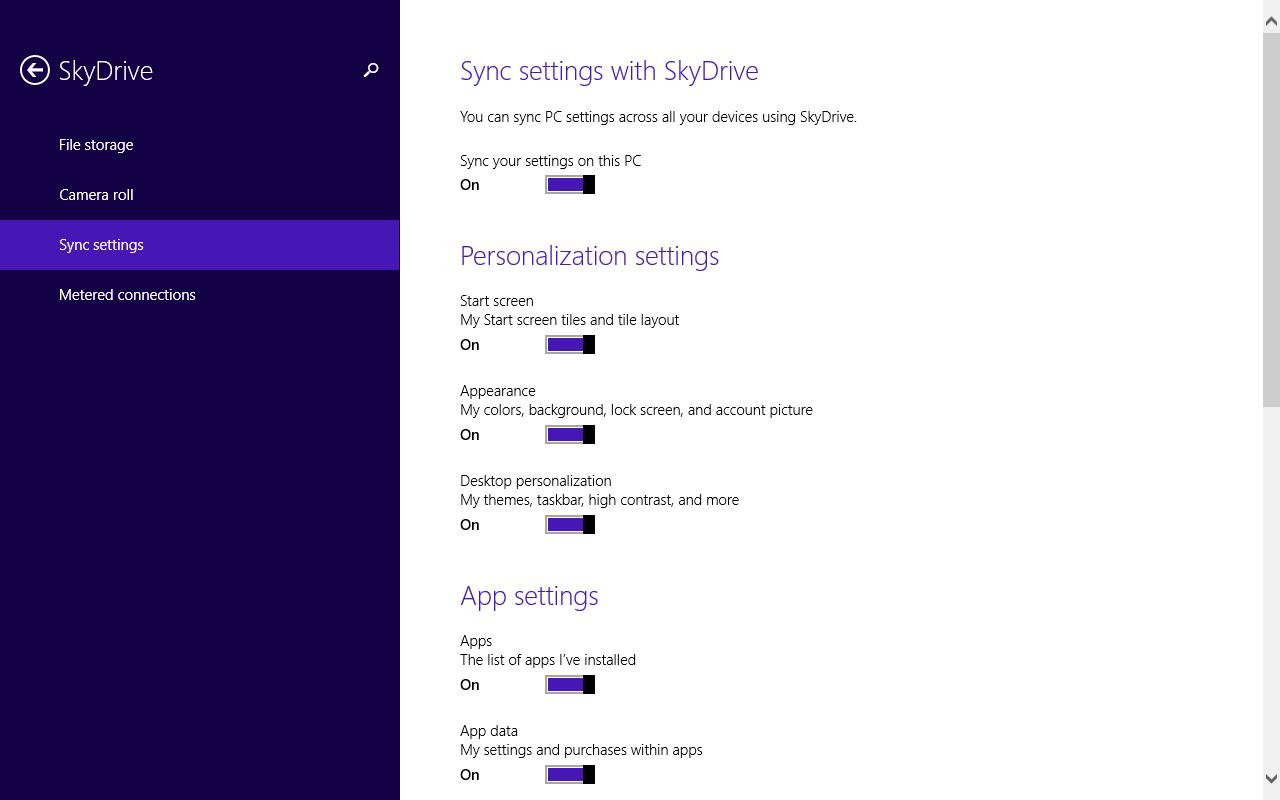 Windows 8.1 im Test: Nicht mehr die Suche suchen - Die Synchronisationsoptionen sind deutlich verbessert worden. (Screenshot: Golem.de)