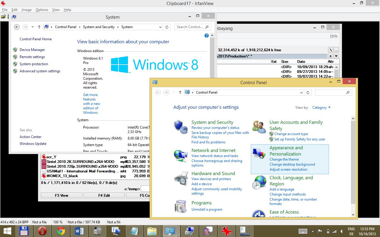 Windows 8.1 im Test: Nicht mehr die Suche suchen - Weiterhin nicht touchscreenfreundlich: der Desktop und die alten Systemeinstellungen (Screenshot: Golem.de)