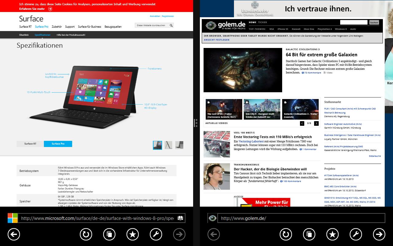 Windows 8.1 im Test: Nicht mehr die Suche suchen - Zwei Fenster von einer App. Der Internet Explorer 11 erlaubt innerhalb der App Multitasking. (Screenshot: Golem.de)