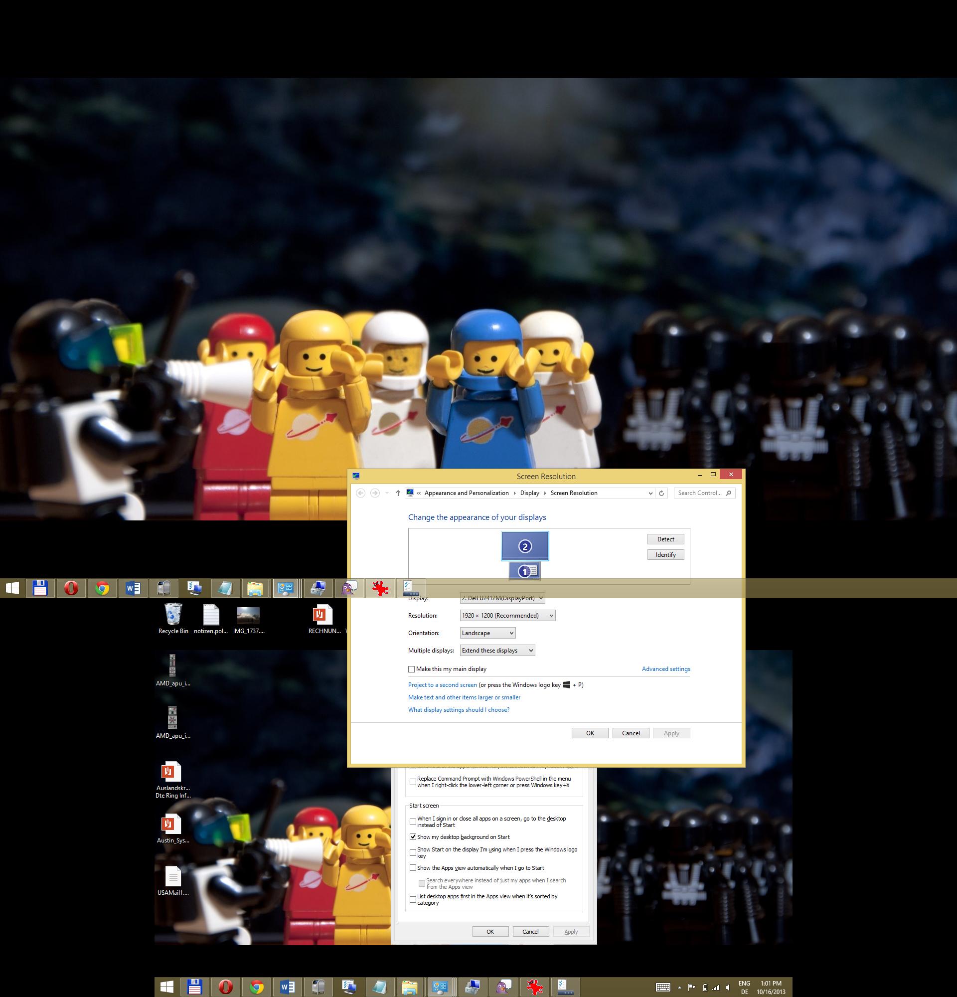 Windows 8.1 im Test: Nicht mehr die Suche suchen - Multimonitorbetrieb mit 1.920 x 1.200 sowie 1.280 x 800 Pixeln. (Screenshot: Golem.de)
