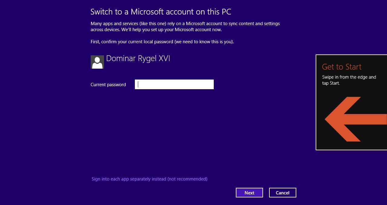 Windows 8.1 im Test: Nicht mehr die Suche suchen - Microsoft legt Nutzern nahe, lokale Accounts zu Microsoft-Accounts umzudefinieren. (Screenshot: Golem.de)