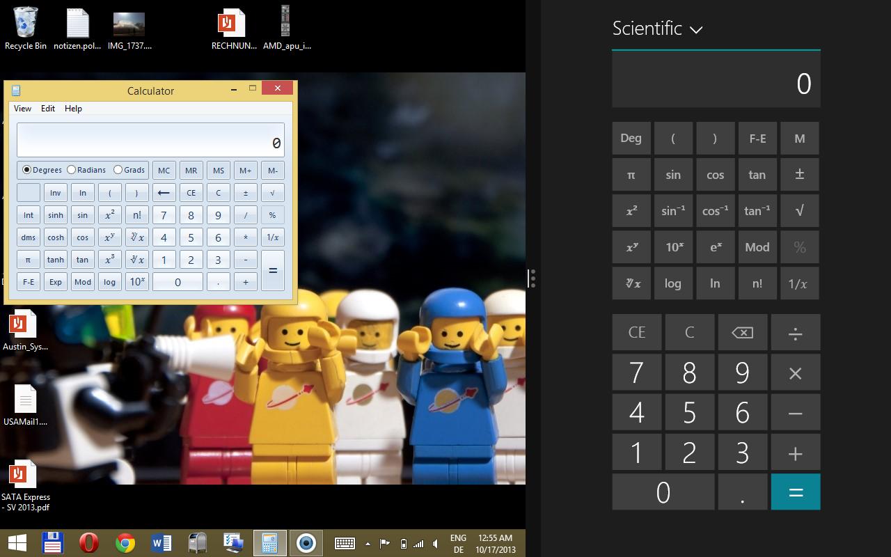 Windows 8.1 im Test: Nicht mehr die Suche suchen - Neu gegen Alt: Den Taschenrechner gibt es jetzt auch in einer fingerfreundlichen Variante. (Screenshot: Golem.de)