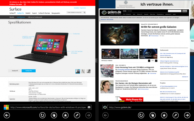 Zwei Fenster von einer App. Der Internet Explorer 11 erlaubt innerhalb der App Multitasking. (Screenshot: Golem.de)