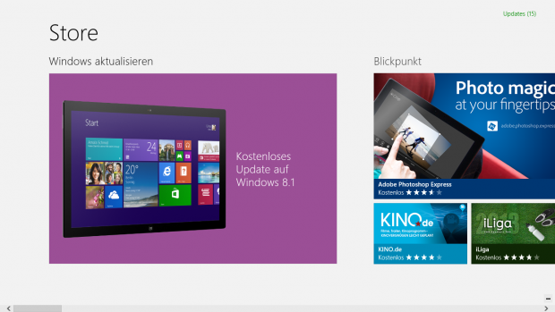 Der Windows Store bietet das Update an.... (Screenshots: Golem.de)