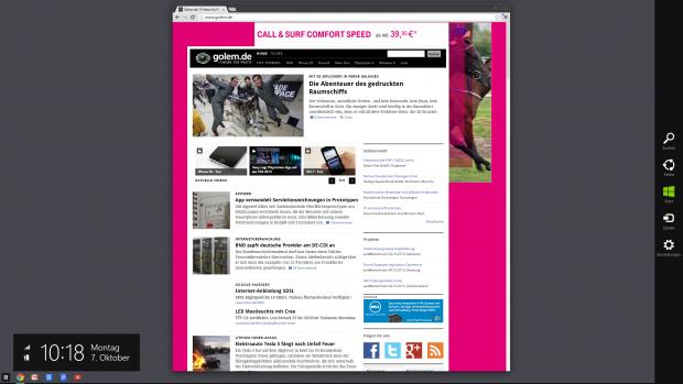 Nur noch die rechte Leiste erinnert an Windows 8. (Screenshot: Golem.de)