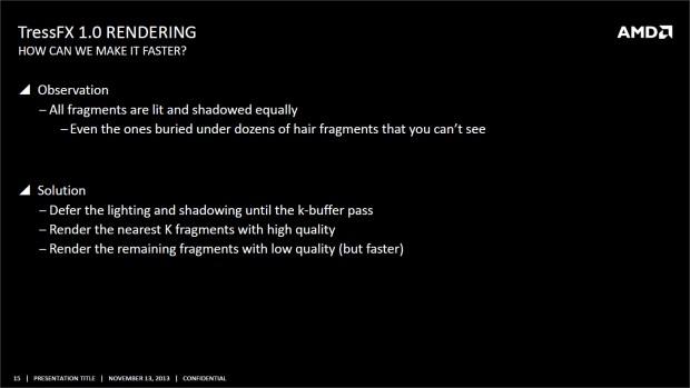 AMD hat sich vor allem Gedanken gemacht, wie die Geschwindigkeit von TressFX erhöht werden kann. (Bild: AMD)