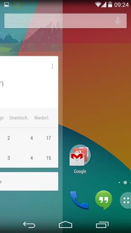 Google Now ist jetzt fest in den Launcher integriert. (Screenshot: Golem.de)