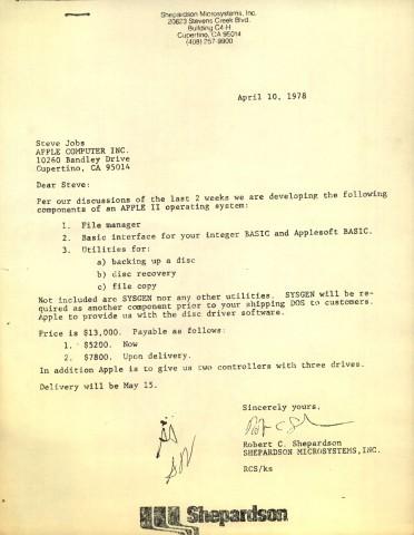 Das Angebot von Shepardson an Steve Jobs (Bilder: Digibarn)