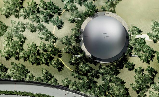 Neue Bilder: So sieht das Innere von Apples neuem Hauptquartier aus - Der Auditoriumspavillon von oben (Bild: Stadt Cupertino)