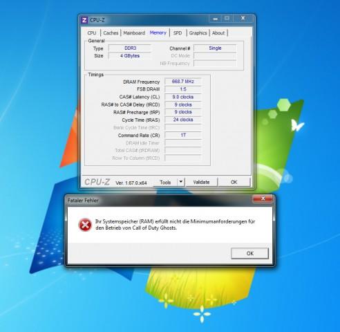 Mit 4 GByte Arbeitsspeicher startet CoD Ghosts nicht. (Screenshot: Marc Sauter/Golem.de)