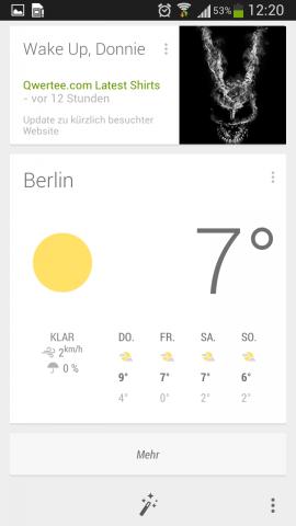 Google Now erhält momentan ein Update, das zahlreiche neue Funktionen und ein neues Design bringt. (Screenshot: Golem.de)