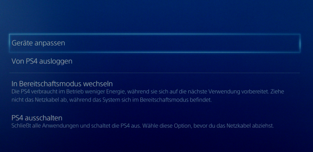 Verwirrende Menüs: Standby heißt bei der PS4 Bereitschaftsmodus... (Screenshots: Golem.de)