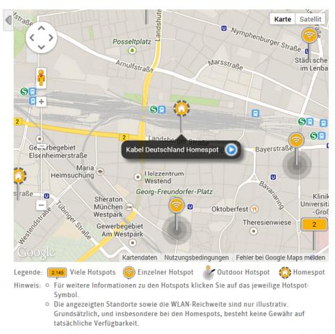 Die Homespots, hier in München, sind an der gestrichelten Umrandung erkennbar. (Screenshot: Golem.de)