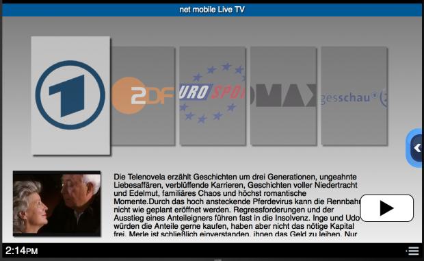 TV-Streaming-Startbildschirm unter Nanooq (Bild: Net Mobile)