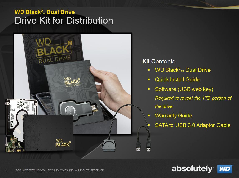 WD Black²: 120-GByte-SSD und 1-TByte-Festplatte in einem Laufwerk - Der Lieferumfang der WD Black 2 (Bilder: WD)