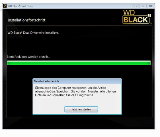Das Installationsprogramm nach Aktivieren des HDD-Teils.