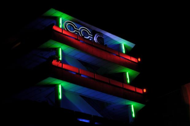 Gehacktes Gebäude. Auf dem 29C3 wurde kurzerhand aus dem CCH der CCC gemacht. (Foto: Andreas Sebayang/Golem.de)