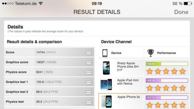 Das iPhone 5S ist im 3DMark eines der schnellsten Smartphones, ... (Screenshots: Golem.de)