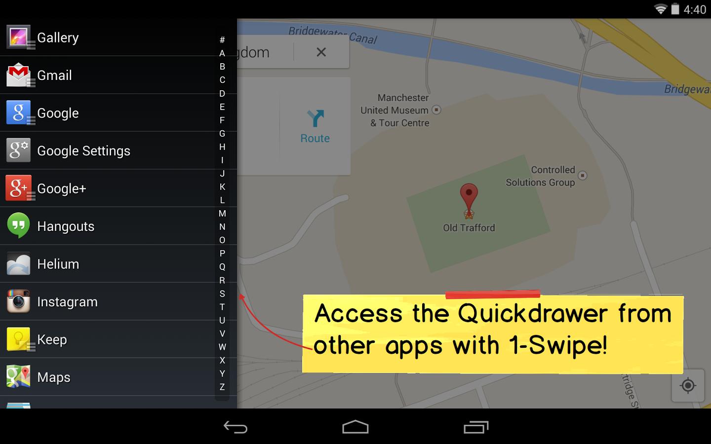 Android: Action Launcher in neuer Version erstmals gratis - Action Launcher 2.0 mit eingeblendetem Quickdrawer (Bild: Chris Lacy)