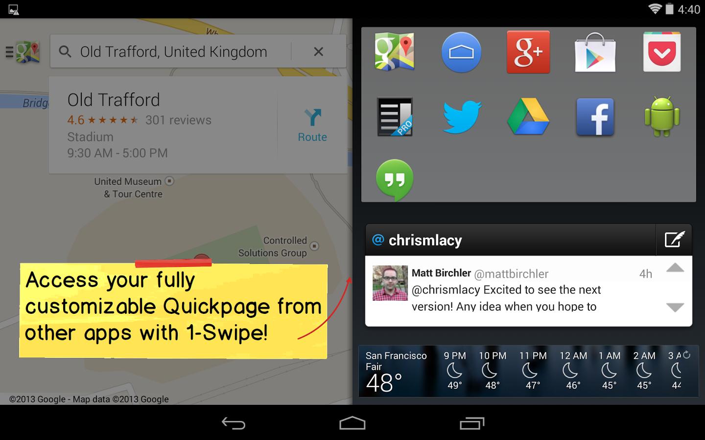 Android: Action Launcher in neuer Version erstmals gratis - Action Launcher 2.0 mit eingeblendeter Quickpage (Bild: Chris Lacy)