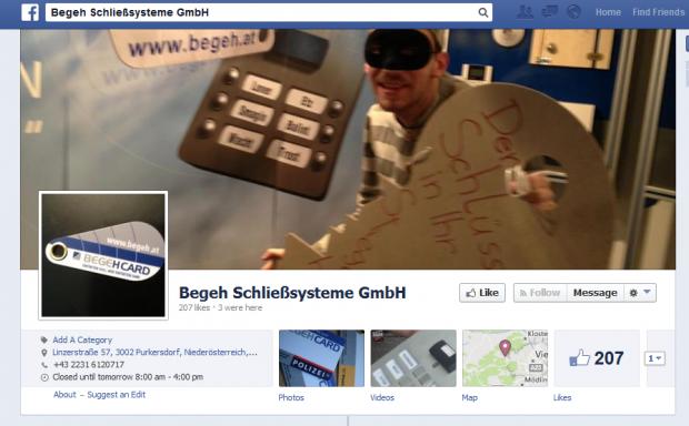 Die Facebook-Seite des Begehsystems betont die Einbruchsicherheit des Systems. (Screenshot: Golem.de)