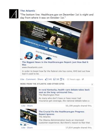 Wenn Nutzer einen Nachrichtenbeitrag gelesen haben, schlägt Facebook ähnliche Artikel vor. (Bild: Facebook)