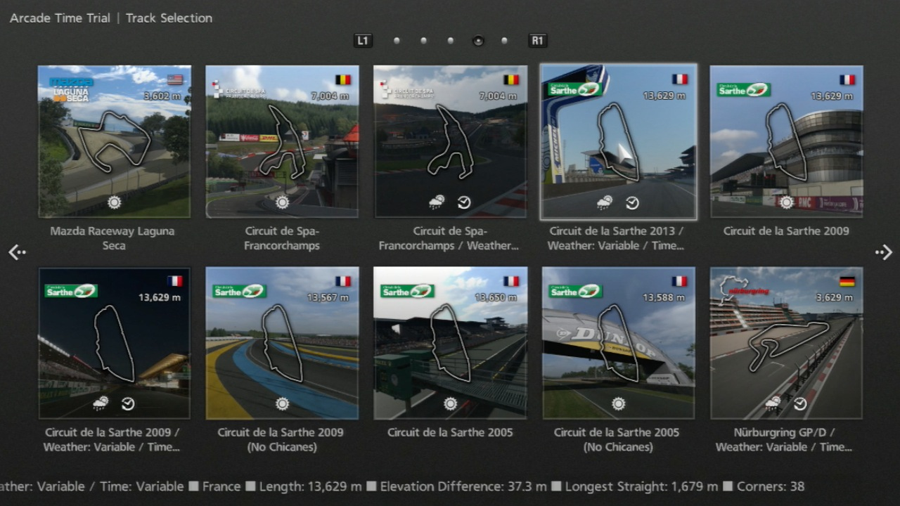Gran Turismo 6 im Test: Fahrspaß bei Tag, Nacht, Wind und Wetter - Streckenauswahl Deluxe. Die Le-Mans-Strecke gibt es gar in Versionen aus verschiedenen Jahren.