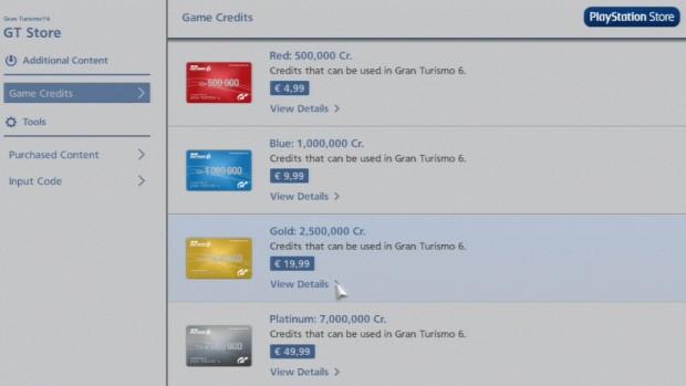 Im Ingame-Shop kann der Spieler zusätzliche Credits erwerben.