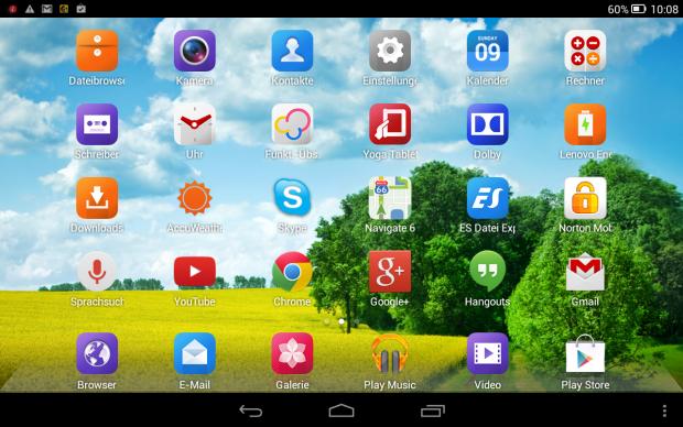 Die Benutzeroberfläche der Yoga-Tablets (Screenshot: Golem.de)