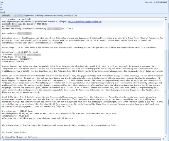 Eine der Virenmails, die nicht von U+C stammen. Im Anhang steckt Malware, und der Verstoß soll in der Zukunft liegen. (Screenshot: Golem.de)