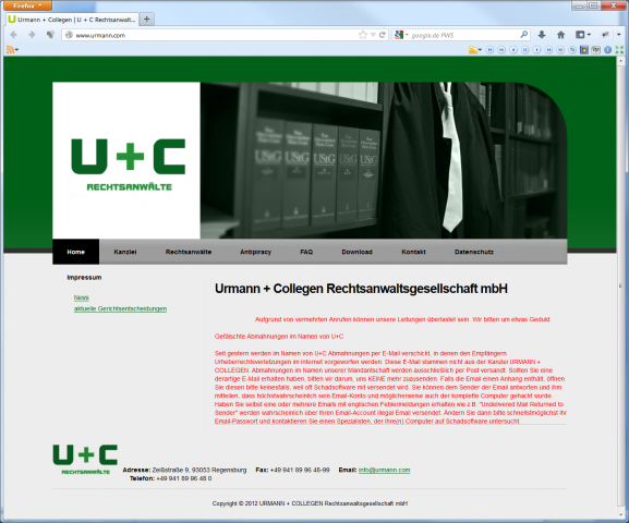 Der Warnhinweis auf der Homepage von U+C enthielt riskante Tipps... (Screenshots: Golem.de)