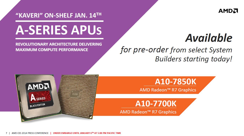 AMDs Kaveri: Zwei Modelle zum Marktstart am 14. Januar - Kaveri startet mit zwei Desktopmodellen. (Bild: AMD)