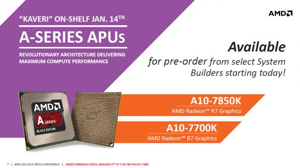 Kaveri startet mit zwei Desktopmodellen. (Bild: AMD)