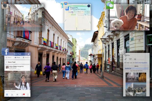 Im Auge des Betrachters entstehen zwei Bilder - die digitalen Inhalte und die Umgebung -, die das Gehirn zu einem montiert. (Bild: Innovega)