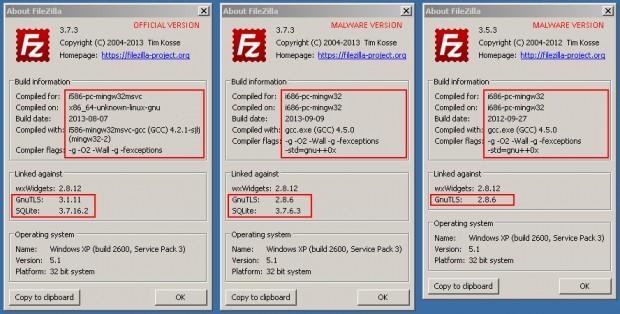 Avast zeigt die Unterscheidungsmerkmale zwischen der offiziellen Version und der Malware-Version von Filezilla. (Bild: Avast)