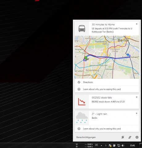 Google Now auf einem Windows-PC (Screenshot: Golem.de)