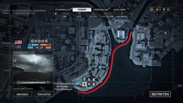 Unsere Testszene: Eine Jetski-Fahrt quer über die BF4-Map Siege of Shanghai (Screenshot: Marc Sauter/Golem.de)