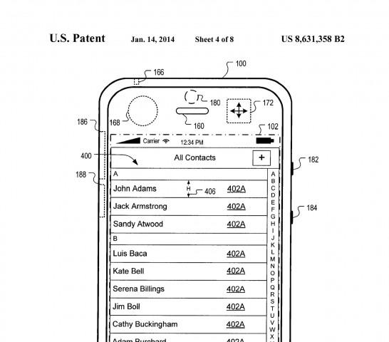 Normale Ansicht der Kontaktliste - US-Patent 8,631,358 (Bild: US-Patent- und Markenamt)