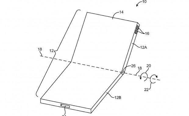 Auseinandergeklapptes Display (Bild: US-Patent- und Markenamt)