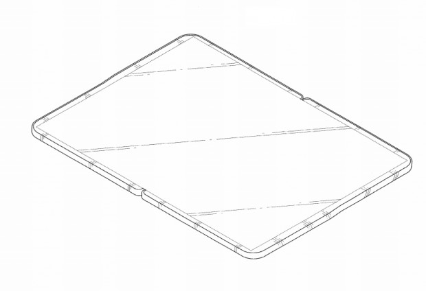 Samsungs faltbares Tablet aus der Patentschrift: Das Display wird durch kein Scharnier unterbrochen. (Bild: Samsung/USPTO)