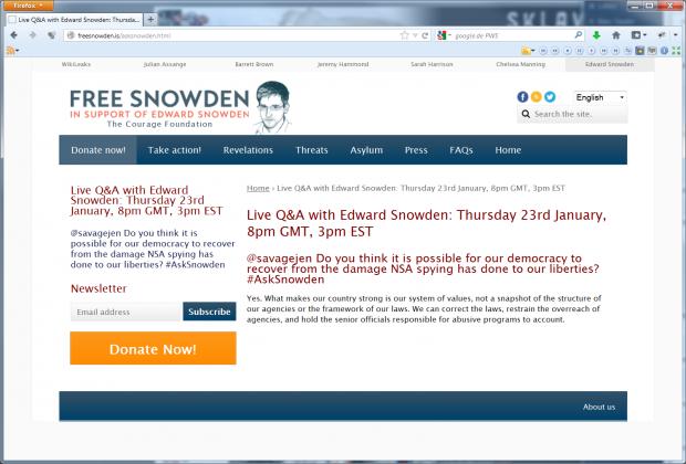 Edward Snowden im Livechat vom 23. Januar 2014 (Screenshots: Golem.de)