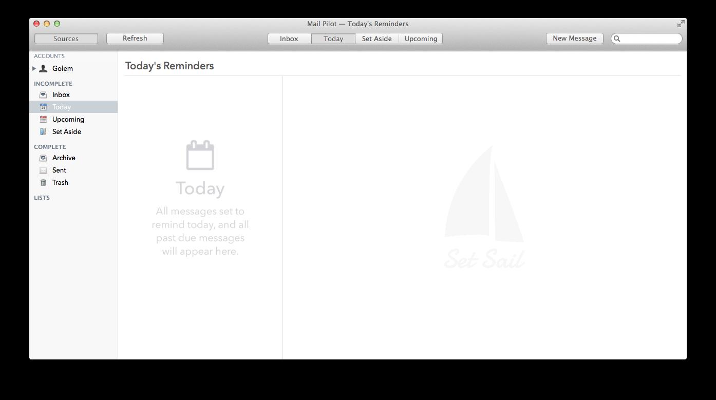 Mail Pilot im Kurztest: Ein sehr spezieller, schlechter E-Mail-Client - Wer will, kann sich klassische Ordner anzeigen lassen. (Screenshot: Golem.de)
