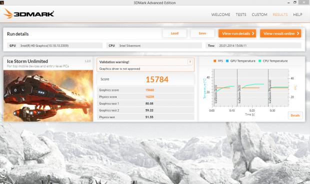 Die Grafikleistung und Integer-Geschwindigkeit des Z3740 ähneln einem A7 oder Tegra 4. (Screenshot: Marc Sauter/Golem.de)
