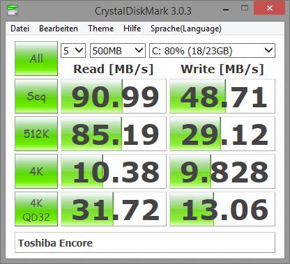 Die verbaute eMMC mit 32 GByte weist sehr schlechte Lese- und Schreibraten auf, die Zugriffszeit hingegen gefällt uns. (Screenshot: Marc Sauter/Golem.de)