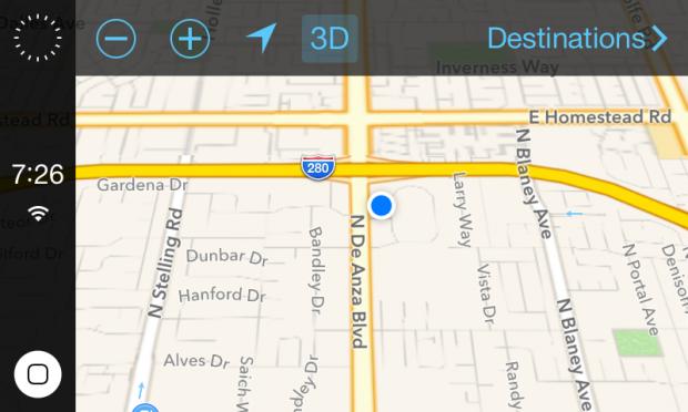 Die Kartenansicht in einem von Steven Troughton-Smith gezeigten Screenshot von iOS in the Car (Bild: Steven Troughton-Smith)