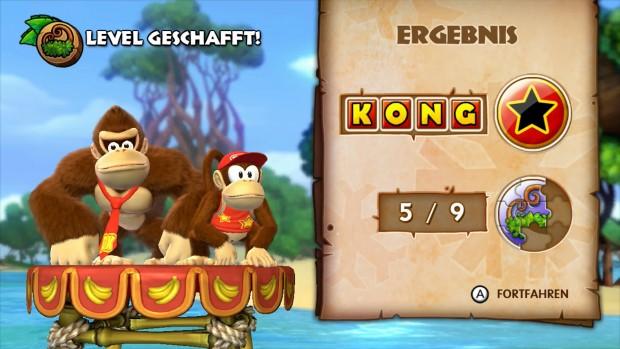 Am Ende jedes Levels, sieht der Spieler was er gesammelt und verpasst hat.