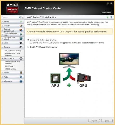 Dual Graphics wird im Control Center aktiviert. (Screenshot: Marc Sauter/Golem.de)