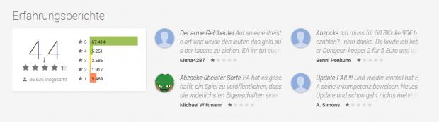 Trotz vieler 5-Sterne-Wertungen fallen die Kommentare sehr negativ aus. (Screenshot: Marc Sauter/Golem.de)