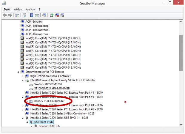 Der Cardreader ist per PCI-Express angebunden.