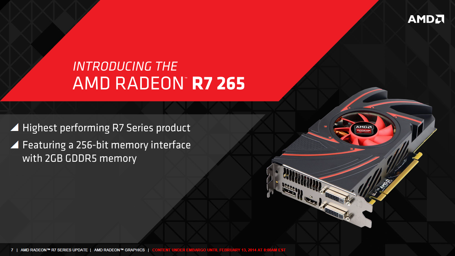 Radeon R7 265: Auch die zwölfte R-Radeon ist altbekannt - Die R7 265 ist das schnellste Modell der Reihe. (Bild: AMD)